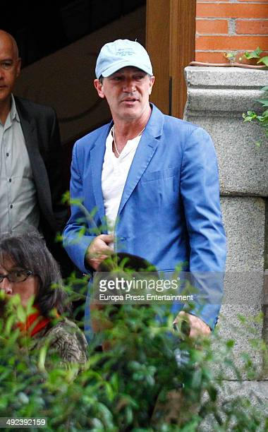 Actor Antonio Banderas is seen leaving a restaurant on May 19 2014 in Madrid Spain