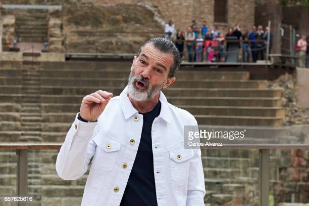 Actor Antonio Banderas poses for the photographers before receives the 'Biznaga de Oro Honorifica' award during the last day of the Malaga Film...