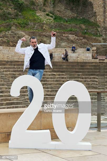 Actor Antonio Banderas poses for the photographers before receives the 'Biznaga de Oro Honorifica' award during the last day of the 20th Malaga Film...