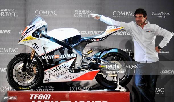 Actor Antonio Banderas presents 'Jack Jones' Racing Team at the Compac Theatre on April 5 2010 in Madrid Spain