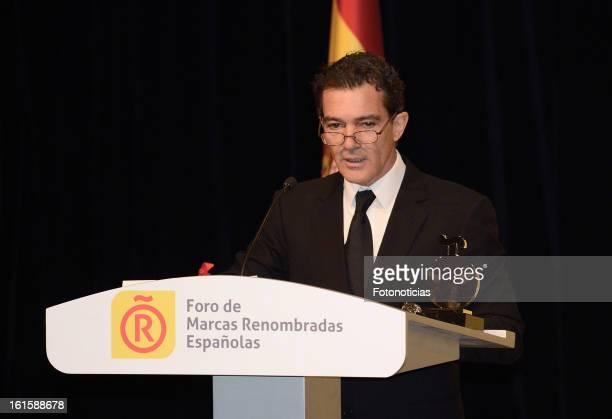 Actor Antonio Banderas receives a honorary Spain 'Brand Ambassador' acreditation at the Ciudad Financiera del Banco Santander on February 12 2013 in...