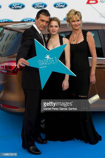 Actor Antonio Banderas Stella del Carmen and Melanie Griffith attend the 3rd annual Starlite Charity Gala on August 4 2012 in Marbella Spain
