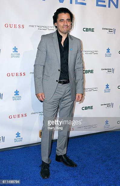 Actor Antonio Jaramillo attends Metropolitan Fashion Week 2016 La Vie En Bleu Signature event benefiting Autism Speaks at Warner Bros Studios on...