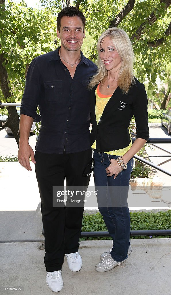 Actor Antonio Sabato Jr. (L) and singer Debbie Gibson celebrate the 25th anniversary of Gibson's 'Foolish Beat' at Antonio Sabato Jr.'s acting camp on June 25, 2013 in Westlake Village, California.