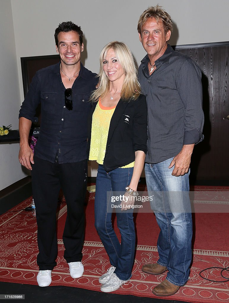 Actor Antonio Sabato Jr., singer Debbie Gibson and actor Michael Dudikoff celebrate the 25th anniversary of Gibson's 'Foolish Beat' at Antonio Sabato Jr.'s acting camp on June 25, 2013 in Westlake Village, California.