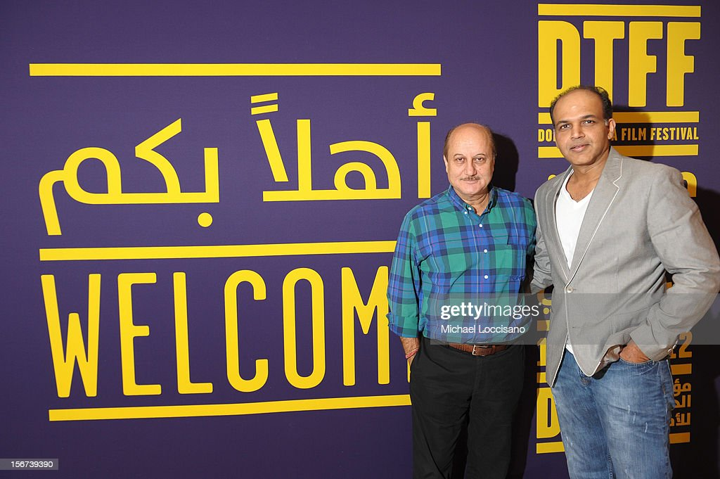 Actor Anupam Kher (L) and jury member Ashutosh Gowariker at the India Discussion during the 2012 Doha Tribeca Film Festival at the Al Mirqab Boutique Hotel on November 20, 2012 in Doha, Qatar.