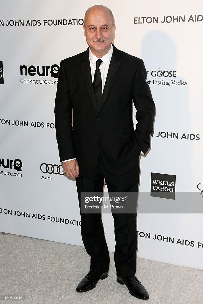 Actor Anupam Kher arrives at the 21st Annual Elton John AIDS Foundation's Oscar Viewing Party on February 24 2013 in Los Angeles California