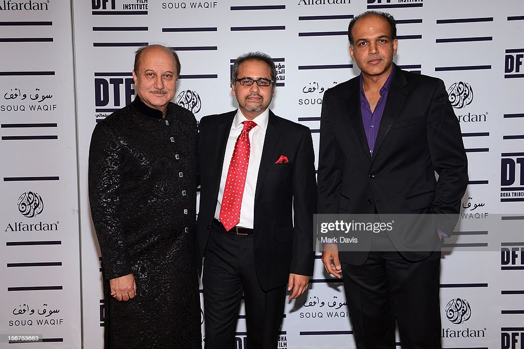 Actor <a gi-track='captionPersonalityLinkClicked' href=/galleries/search?phrase=Anupam+Kher&family=editorial&specificpeople=767439 ng-click='$event.stopPropagation()'>Anupam Kher</a>, Avtar Panesar and Ashutosh Gowariker attend the 'Till I Breathe this Life' premiere during the 2012 Doha Tribeca Film Festival at the Al Mirqab Boutique Hotel on November 20, 2012 in Doha, Qatar.
