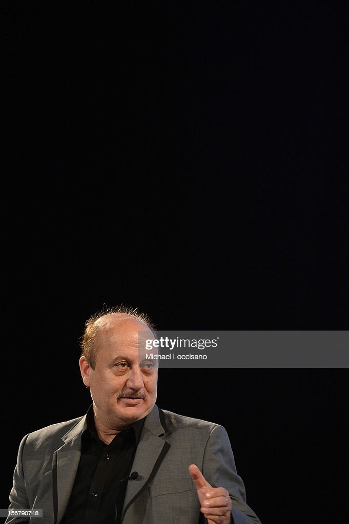Actor Anupam Kher speaks at the Going Global Can Bollywood Films Crossover Panel during the 2012 Doha Tribeca Film Festival at Katara Opera House on...
