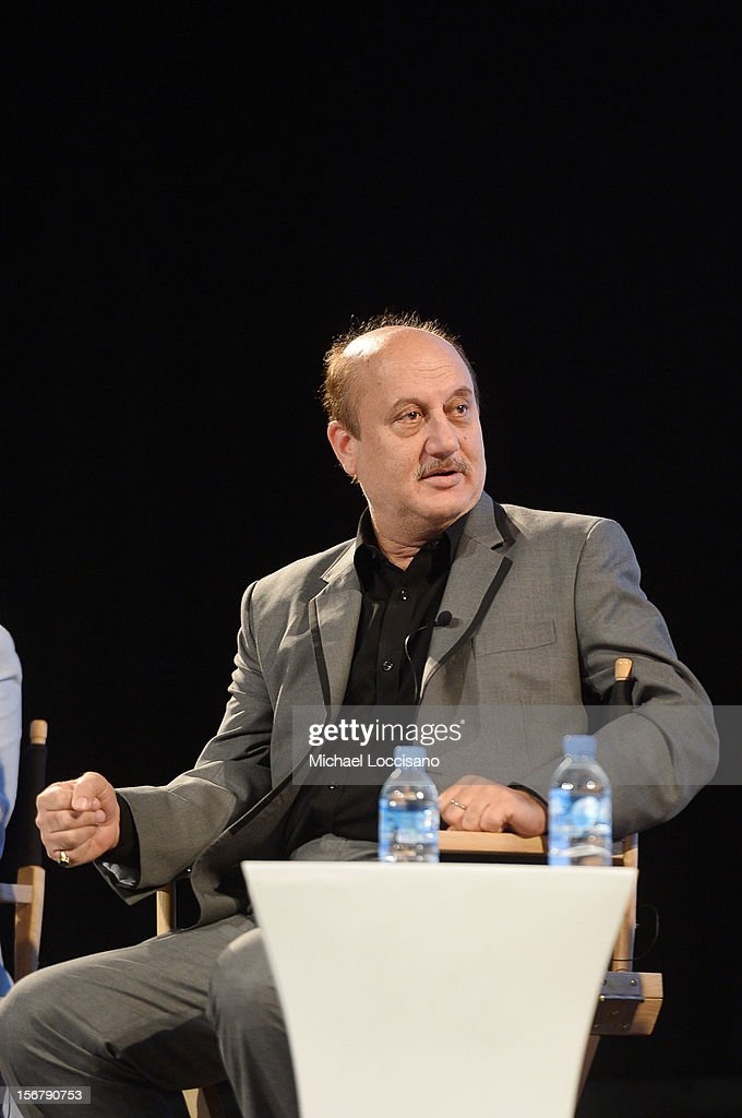 Actor <a gi-track='captionPersonalityLinkClicked' href=/galleries/search?phrase=Anupam+Kher&family=editorial&specificpeople=767439 ng-click='$event.stopPropagation()'>Anupam Kher</a> speaks at the Going Global Can Bollywood Films Crossover Panel during the 2012 Doha Tribeca Film Festival at Katara Opera House on November 21, 2012 in Doha, Qatar.