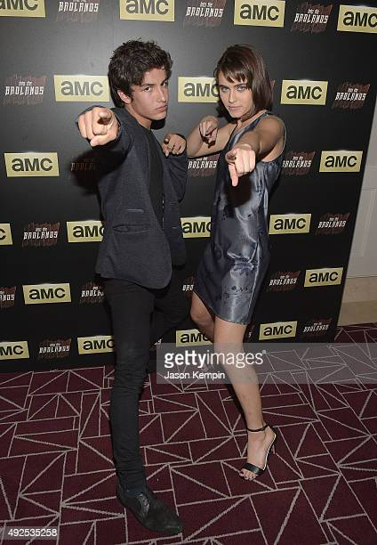 Actor Aramis Knight and actress Ally Ioannides attend a screening of AMC's 'Into The Badlands' at The London West Hollywood on October 13 2015 in...