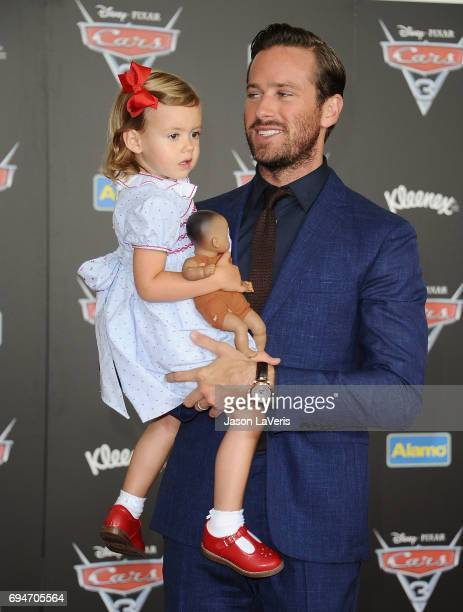 Actor Armie Hammer and daughter Harper Hammer attend the premiere of 'Cars 3' at Anaheim Convention Center on June 10 2017 in Anaheim California