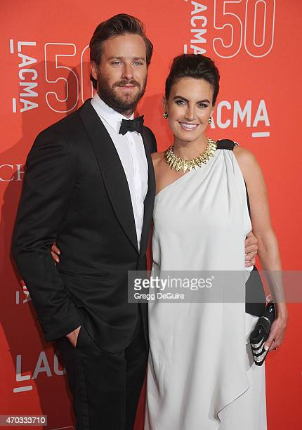 Actor Armie Hammer and Elizabeth Chambers arrive at LACMA's 50th Anniversary Gala at LACMA on April 18 2015 in Los Angeles California
