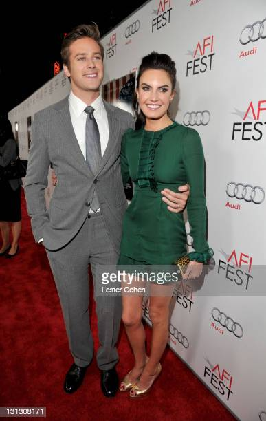 Actor Armie Hammer and Elizabeth Chambers arrive at the AFI Fest 2011 Opening Night Gala World Premiere Of 'J Edgar' at Grauman's Chinese Theatre on...