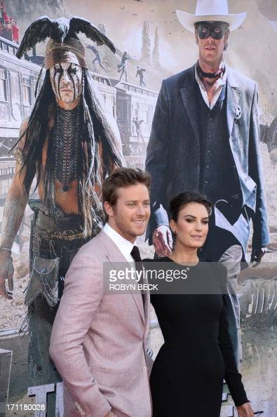 Actor Armie Hammer and Elizabeth Chambers arrive at the world premiere of 'The Lone Ranger' at Disney California Adventure in Anaheim California June...