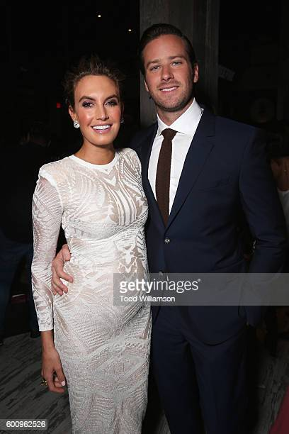 Actor Armie Hammer and his wife Elizabeth Hammer attend the 'Free Fire' premiere screening party hosted by Bulleit at Early Mercy on September 8 2016...