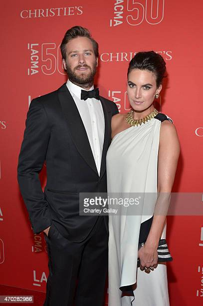 Actor Armie Hammer and model Elizabeth Chambers attend the LACMA 50th Anniversary Gala sponsored by Christie's at LACMA on April 18 2015 in Los...