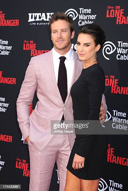 Actor Armie Hammer and wife Elizabeth Chambers arrive at 'The Lone Ranger' World Premiere at Disney's California Adventure on June 22 2013 in Anaheim...