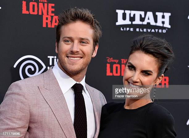 Actor Armie Hammer and wife Elizabeth Chambers arrive at the premiere of Walt Disney Pictures' 'The Lone Ranger' at Disney California Adventure Park...
