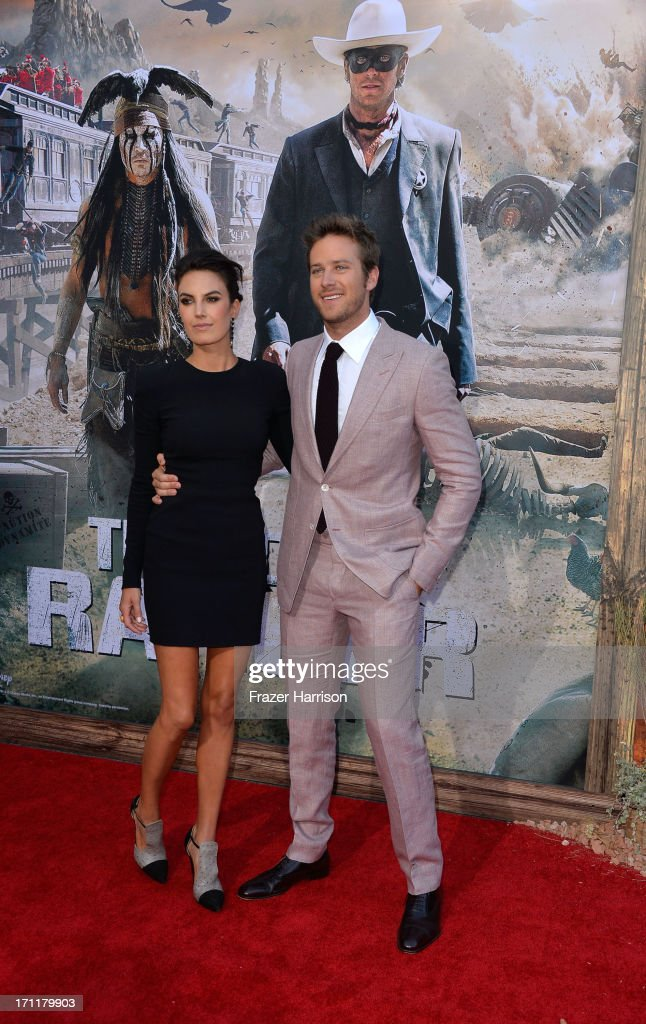 Actor Armie Hammer and wife Elizabeth Chambers arrive at the premiere of Walt Disney Pictures' 'The Lone Ranger' at Disney California Adventure Park on June 22, 2013 in Anaheim, California.