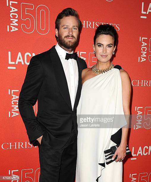 Actor Armie Hammer and wife Elizabeth Chambers attend LACMA's 50th anniversary gala at LACMA on April 18 2015 in Los Angeles California