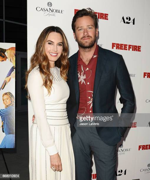 Actor Armie Hammer and wife Elizabeth Chambers attend the premiere of 'Free Fire' at ArcLight Hollywood on April 13 2017 in Hollywood California