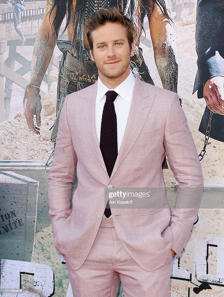 Actor <a gi-track='captionPersonalityLinkClicked' href=/galleries/search?phrase=Armie+Hammer&family=editorial&specificpeople=5313113 ng-click='$event.stopPropagation()'>Armie Hammer</a> arrives at the Los Angeles premiere 'The Lone Ranger' at Disney California Adventure Park on June 22, 2013 in Anaheim, California.