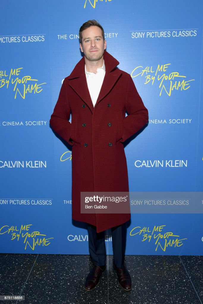Actor Armie Hammer attends The Cinema Society screening of Sony Pictures Classics' 'Call Me By Your Name' at Museum of Modern Art on November 16, 2017 in New York City.