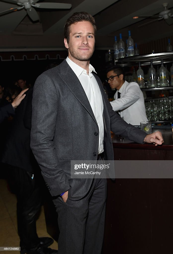 Actor Armie Hammer attends the Grey Goose hosted Michael Sugar, Doug Wald and Warren Zavala pre-oscar party at Sunset Tower on February 21, 2015 in West Hollywood, California.