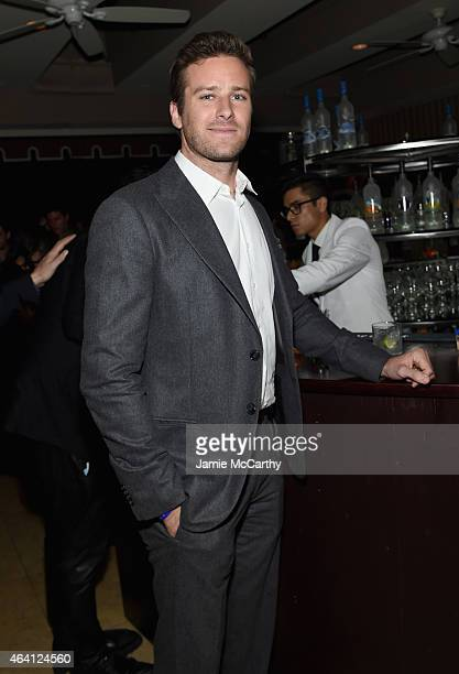 Actor Armie Hammer attends the Grey Goose hosted Michael Sugar Doug Wald and Warren Zavala preoscar party at Sunset Tower on February 21 2015 in West...