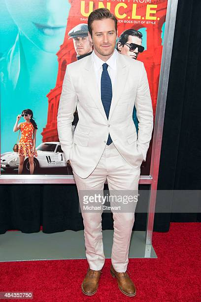 Actor Armie Hammer attends 'The Man From UNCLE' New York premiere at Ziegfeld Theater on August 10 2015 in New York City