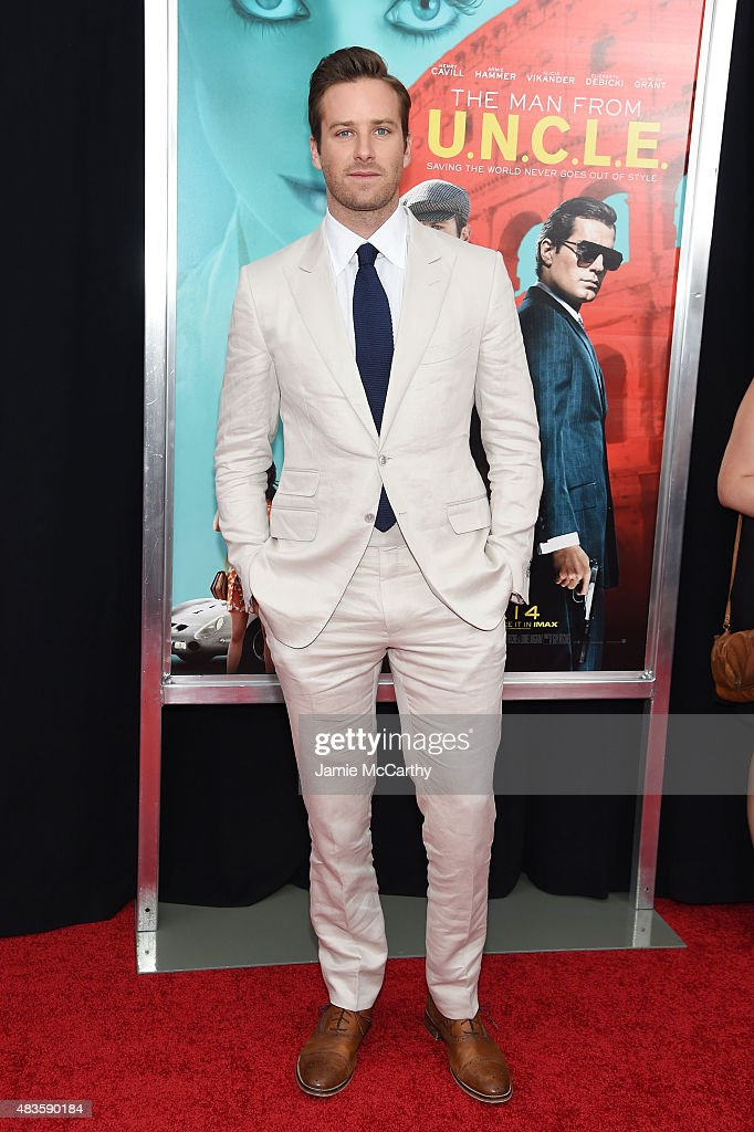 Actor <a gi-track='captionPersonalityLinkClicked' href=/galleries/search?phrase=Armie+Hammer&family=editorial&specificpeople=5313113 ng-click='$event.stopPropagation()'>Armie Hammer</a> attends the New York premiere of 'The Man From U.N.C.L.E.' at Ziegfeld Theater on August 10, 2015 in New York City.
