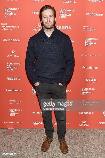 Actor Armie Hammer attends the 'The Birth Of A Nation' Premiere during the 2016 Sundance Film Festival at Eccles Center Theatre on January 25 2016 in...