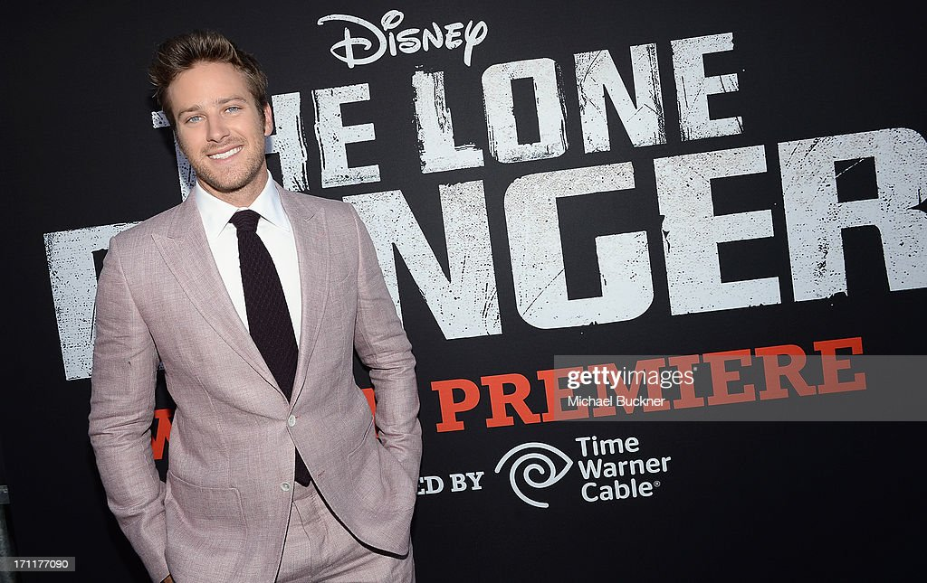 Actor <a gi-track='captionPersonalityLinkClicked' href=/galleries/search?phrase=Armie+Hammer&family=editorial&specificpeople=5313113 ng-click='$event.stopPropagation()'>Armie Hammer</a> attends The World Premiere of Disney/Jerry Bruckheimer Films' 'The Lone Ranger' at Disney California Adventure Park on June 22, 2013 in Anaheim, California.