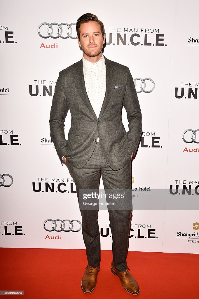 Actor <a gi-track='captionPersonalityLinkClicked' href=/galleries/search?phrase=Armie+Hammer&family=editorial&specificpeople=5313113 ng-click='$event.stopPropagation()'>Armie Hammer</a> attends Warner Bros. Pictures Canada and Audi Canada host a private cocktail reception for the Canadian premiere of 'The Man From U.N.C.L.E.' at Shangri-La Hotel on August 11, 2015 in Toronto, Canada.
