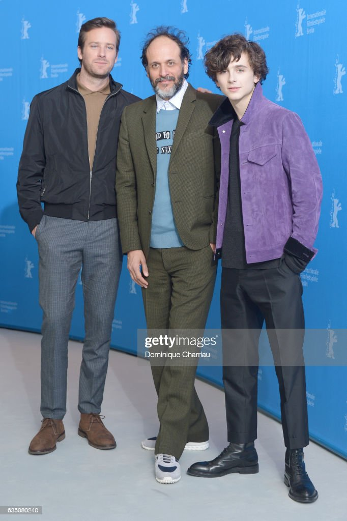 Actor Armie Hammer (L), director Luca Guadagnino (C) and actor Timothee Chalamet attend the 'Call Me by Your Name' photo call during the 67th Berlinale International Film Festival Berlin at Grand Hyatt Hotel on February 13, 2017 in Berlin, Germany.