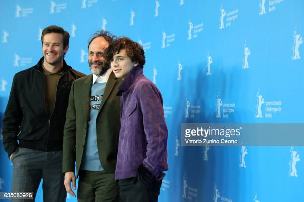 Actor Armie Hammer director Luca Guadagnino and actor Timothee Chalamet attend the 'Call Me by Your Name' photo call during the 67th Berlinale...