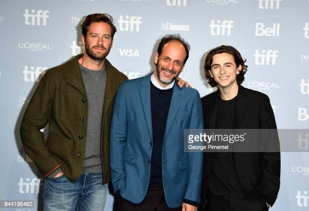 Actor Armie Hammer director/producer Luca Guadagnino and actor Timothee Chalamet attend the 'Call Me By Your Name' press conference during 2017...