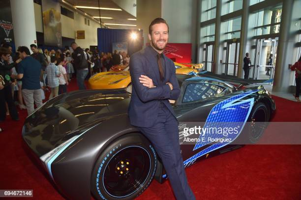"Actor Armie Hammer poses at the World Premiere of Disney/Pixar's ""Cars 3' at the Anaheim Convention Center on June 10 2017 in Anaheim California"