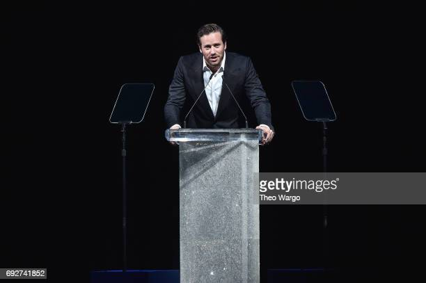 Actor Armie Hammer speaks onstage during the 2017 CFDA Fashion Awards at Hammerstein Ballroom on June 5 2017 in New York City