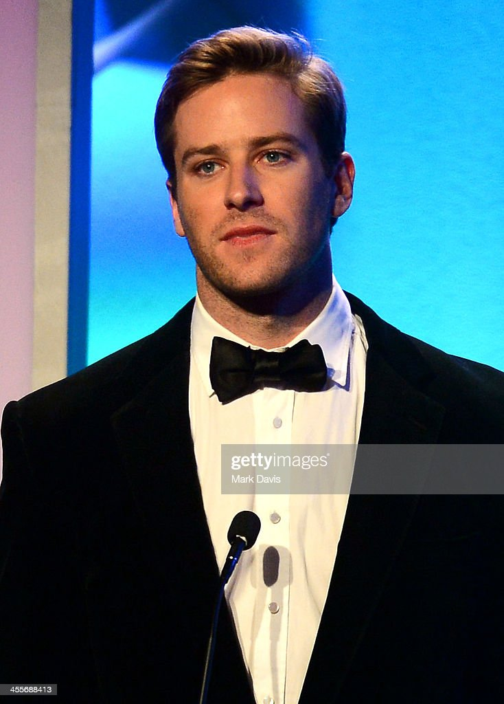 Actor <a gi-track='captionPersonalityLinkClicked' href=/galleries/search?phrase=Armie+Hammer&family=editorial&specificpeople=5313113 ng-click='$event.stopPropagation()'>Armie Hammer</a> speaks onstage during the 27th American Cinematheque Award honoring Jerry Bruckheimer at The Beverly Hilton Hotel on December 12, 2013 in Beverly Hills, California.