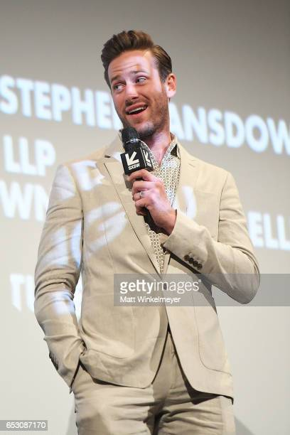Actor Armie Hammer speaks onstage during the 'FREE FIRE' premiere 2017 SXSW Conference and Festivals on March 13 2017 in Austin Texas