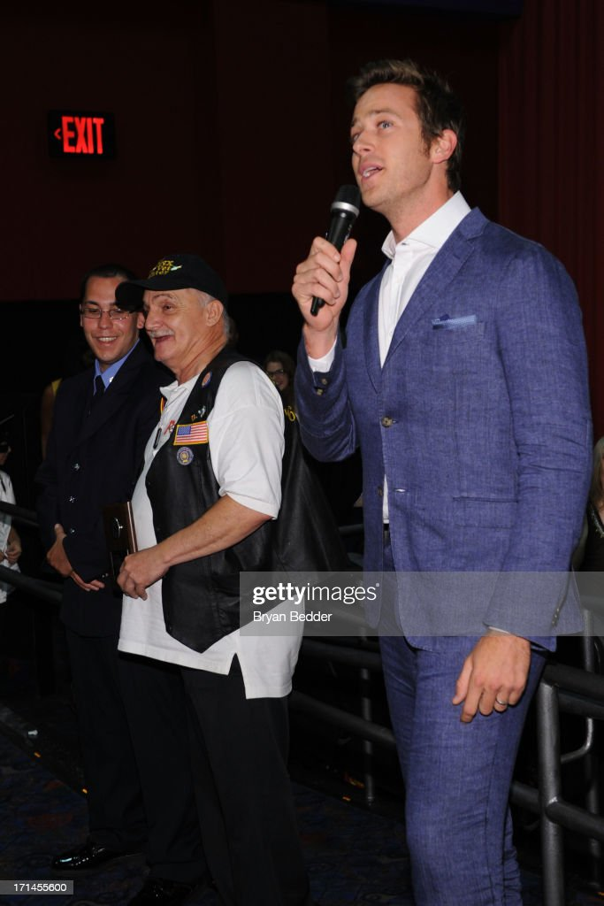 Actor <a gi-track='captionPersonalityLinkClicked' href=/galleries/search?phrase=Armie+Hammer&family=editorial&specificpeople=5313113 ng-click='$event.stopPropagation()'>Armie Hammer</a> star of The Lone Ranger speaks during a surprise appearance to honor outstanding local heroes as part of 'The Lone Ranger Ride For Justice' Screening Series on June 24, 2013 in New York City.