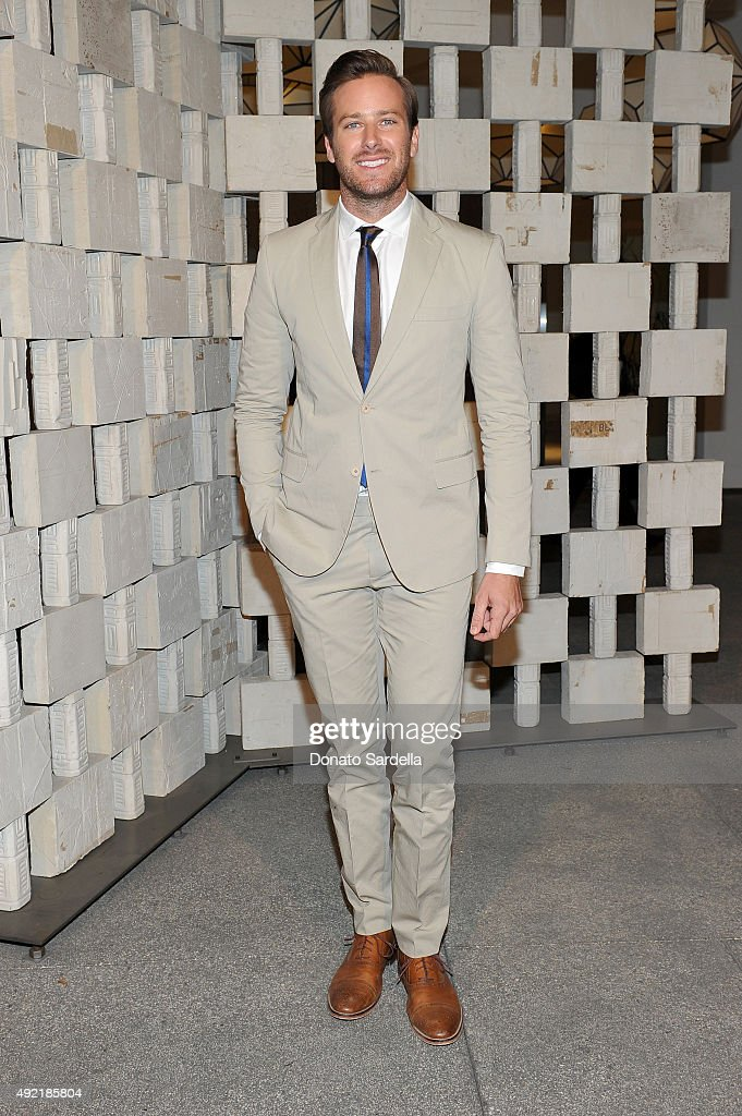 Actor <a gi-track='captionPersonalityLinkClicked' href=/galleries/search?phrase=Armie+Hammer&family=editorial&specificpeople=5313113 ng-click='$event.stopPropagation()'>Armie Hammer</a>, wearing Bottega Veneta, attends the Hammer Museum Gala in Garden sponsored by Bottega Veneta at Hammer Museum on October 10, 2015 in Westwood, California.