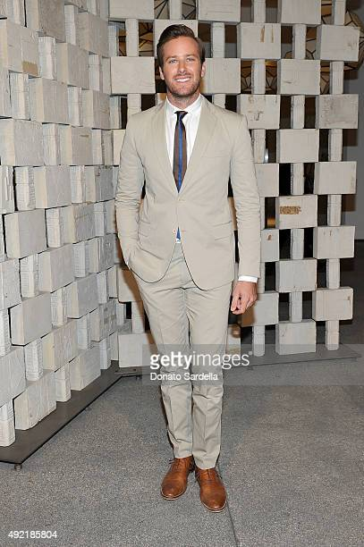 Actor Armie Hammer wearing Bottega Veneta attends the Hammer Museum Gala in Garden sponsored by Bottega Veneta at Hammer Museum on October 10 2015 in...