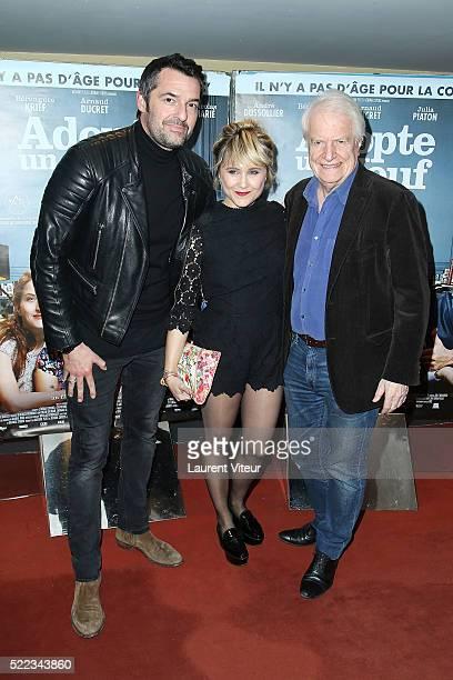 Actor Arnaud Ducret Actress Berangere Krief and Actor Andre Dussolier attend 'Adopte Un Veuf' Paris Premiere at UGC Cine Cite des Halles on April 18...