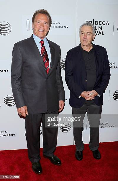 Actor Arnold Schwarzenegger and actor Robert De Niro attends the 2015 Tribeca Film Festival world premiere narrative 'Maggie' at BMCC Tribeca PAC on...