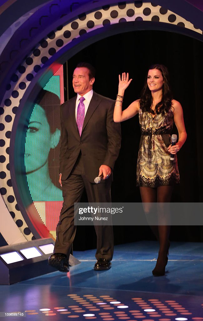 Actor Arnold Schwarzenegger and actress Jaimie Alexander visit BET's '106 & Park' at BET Studios on January 17, 2013 in New York City.
