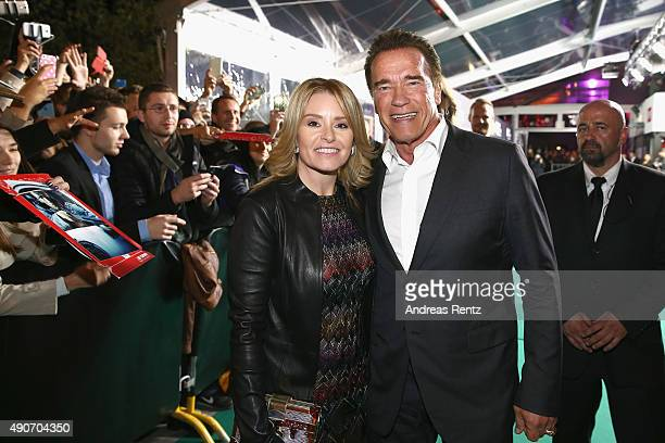 Actor Arnold Schwarzenegger and Heather Milligan attend the 'Maggie' Premiere and Golden Icon Award Ceremony during the Zurich Film Festival on...