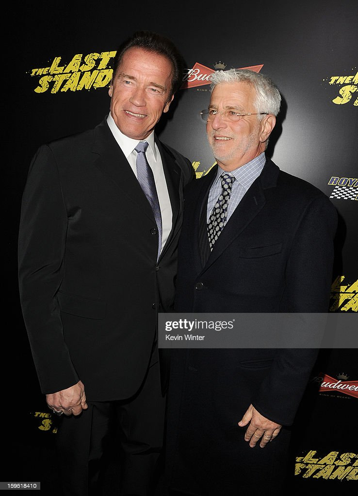 Actor <a gi-track='captionPersonalityLinkClicked' href=/galleries/search?phrase=Arnold+Schwarzenegger&family=editorial&specificpeople=156406 ng-click='$event.stopPropagation()'>Arnold Schwarzenegger</a> (L) and <a gi-track='captionPersonalityLinkClicked' href=/galleries/search?phrase=Rob+Friedman&family=editorial&specificpeople=234962 ng-click='$event.stopPropagation()'>Rob Friedman</a>, Lionsgate Motion Picture Group Co-Chairman arrive at the premiere of Lionsgate Films' 'The Last Stand' at Grauman's Chinese Theatre on January 14, 2013 in Hollywood, California.
